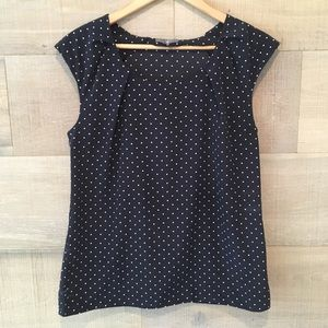 GAP woman's navy cap sleeve blouse- size S